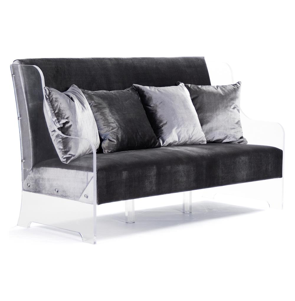 Wilshire Hollywood Regency Glam Acrylic Arm Velvet Sofa