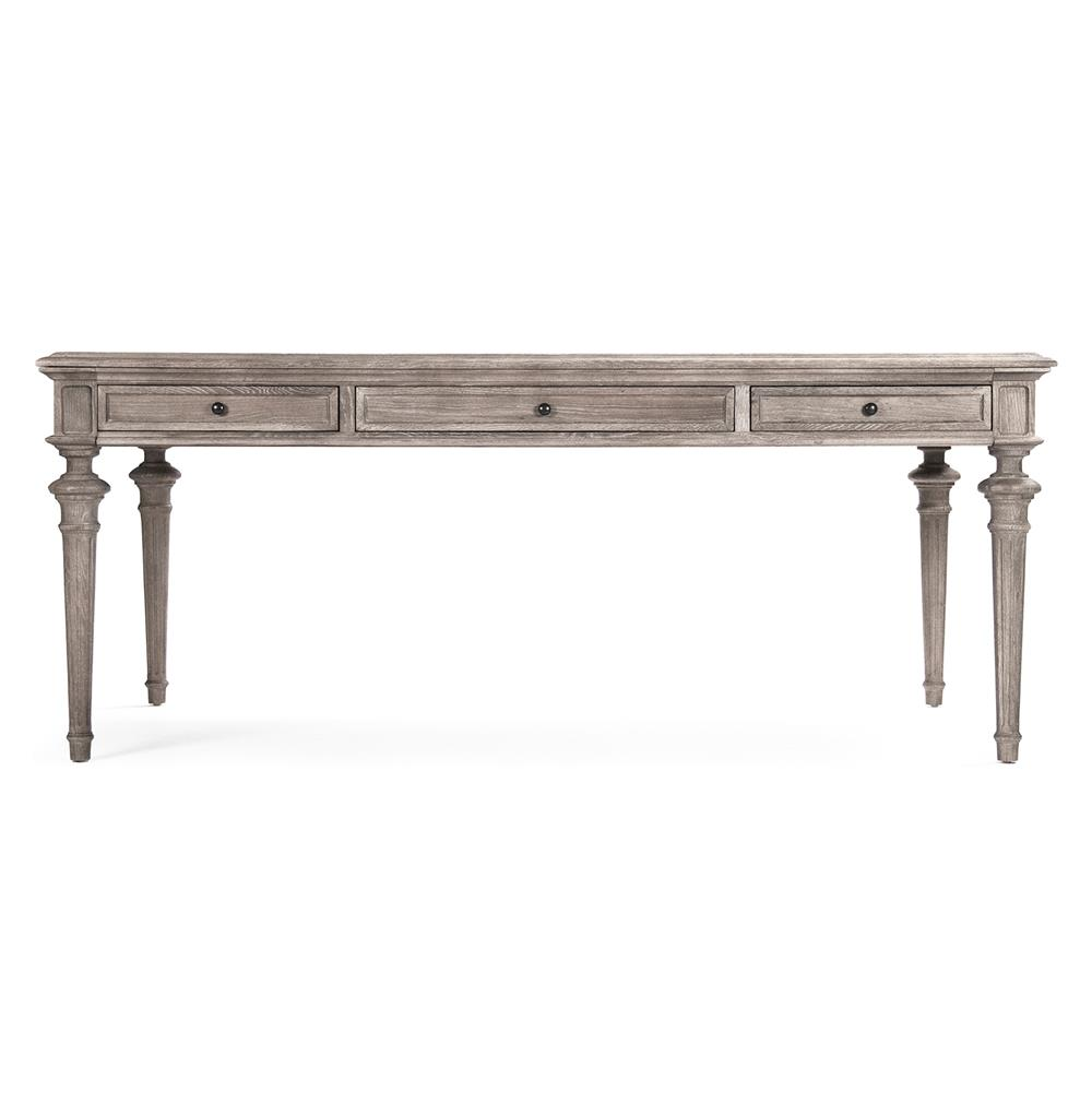 Nadine French Country Limed Grey Partners Desk Dining Table Kathy Kuo Home