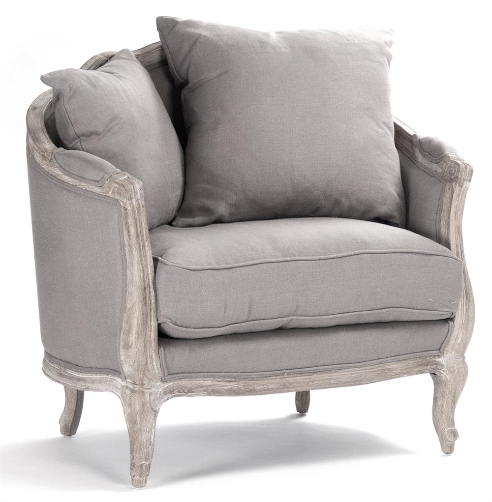 Rue du bac french country grey linen feather chair kathy for Grey sofa and chair