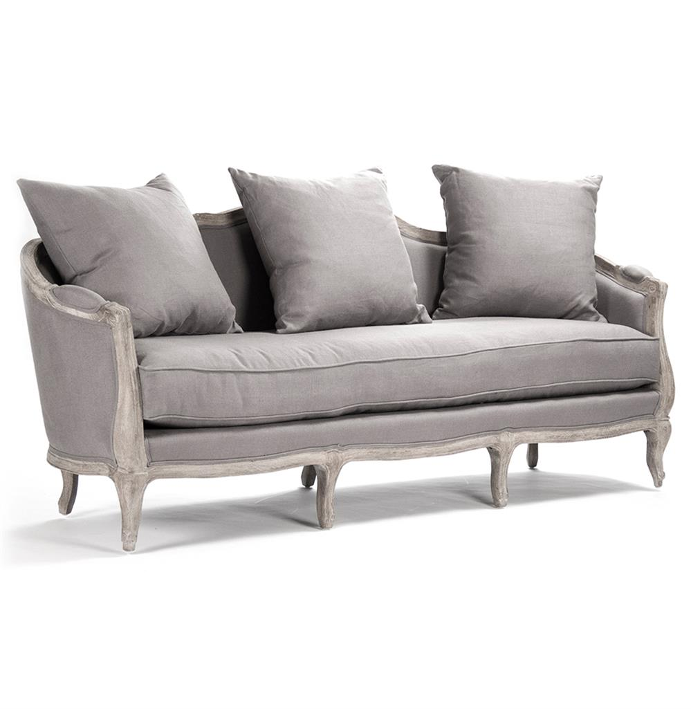 Rue du bac french country grey linen feather sofa kathy kuo home - French country sectional sofas ...