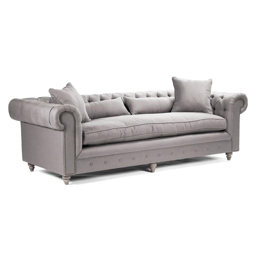 alaine english rolled arm grey linen chesterfield sofa. Black Bedroom Furniture Sets. Home Design Ideas