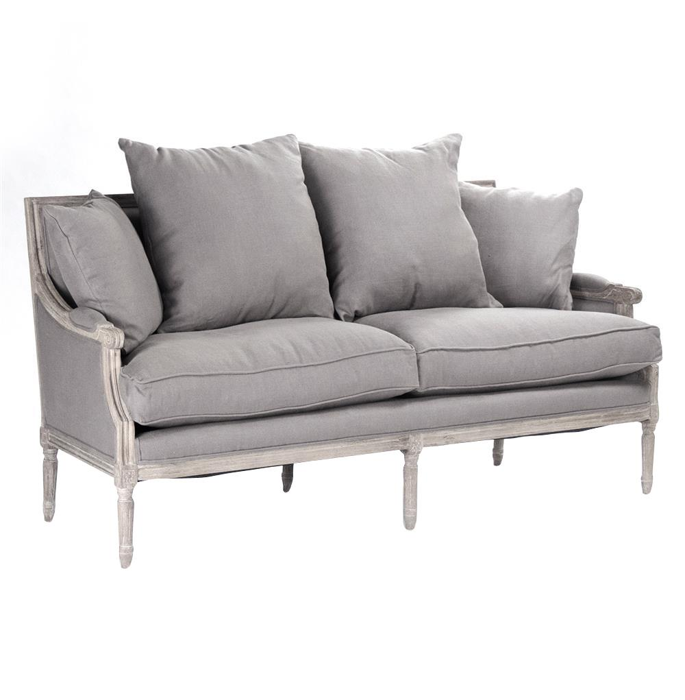 St. Germain French Country Limed Oak Louis XVI Grey Linen Sofa | Kathy Kuo  Home ...