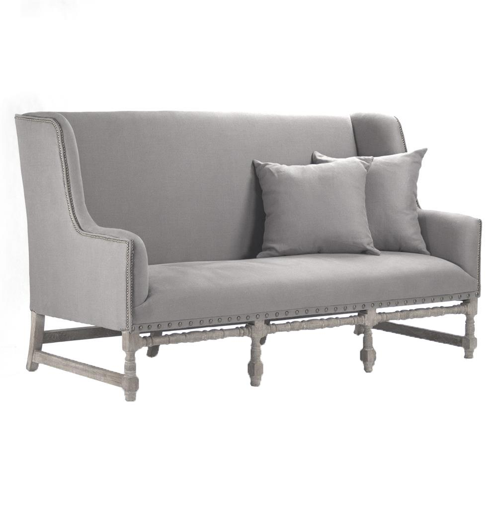 Dining Fabulous French Style Dining Settee Bench: Ausbert French Country Grey Linen Dining Bench Sofa