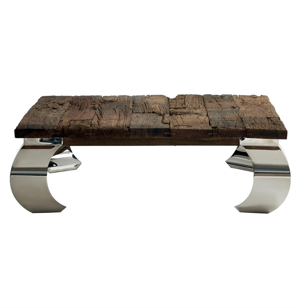 Sid Modern Rustic Lodge Wood Silver Base Square Coffee