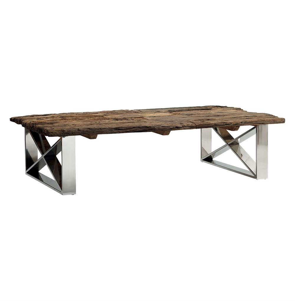 Crockett rustic lodge reclaimed wood coffee table kathy kuo home Home furniture coffee tables