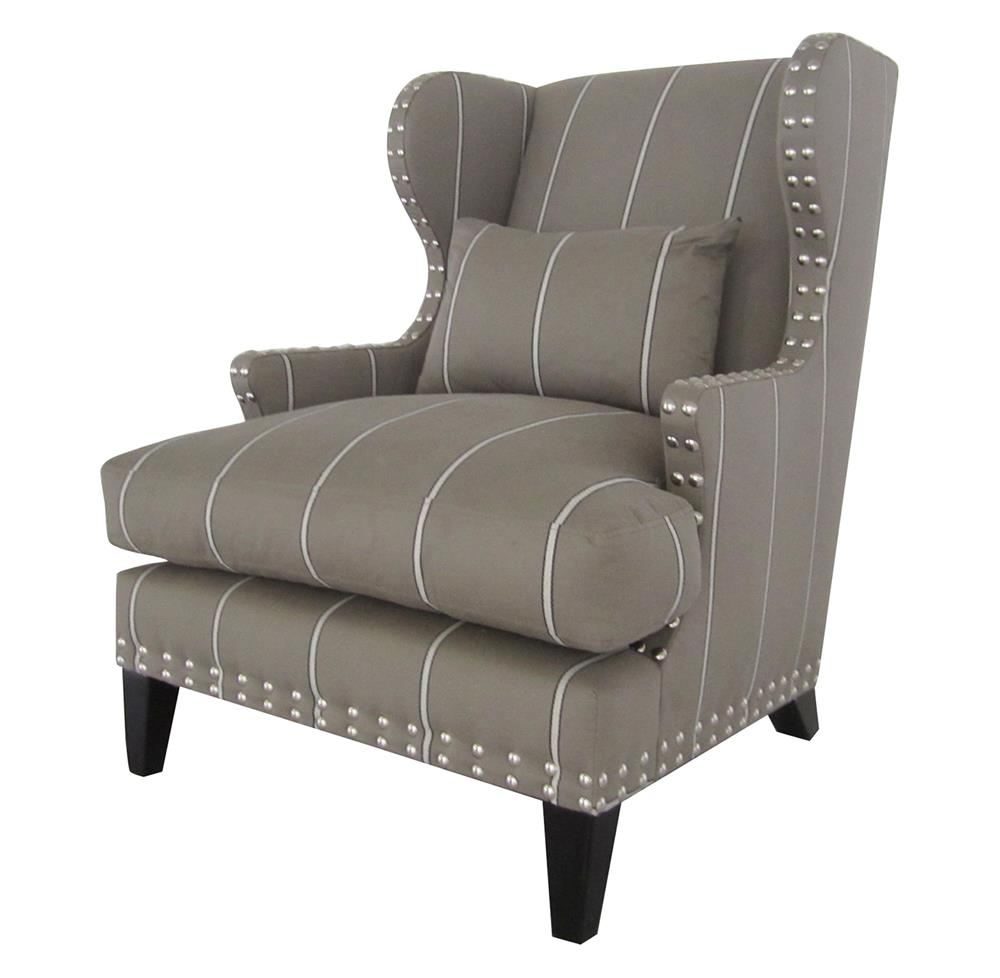 Amundsen british industrial studded wing back arm chair for Arm of chair