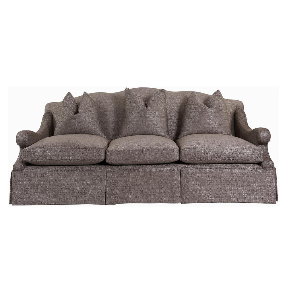 Vannes Modern French Country Skirted Sofa Kathy Kuo Home