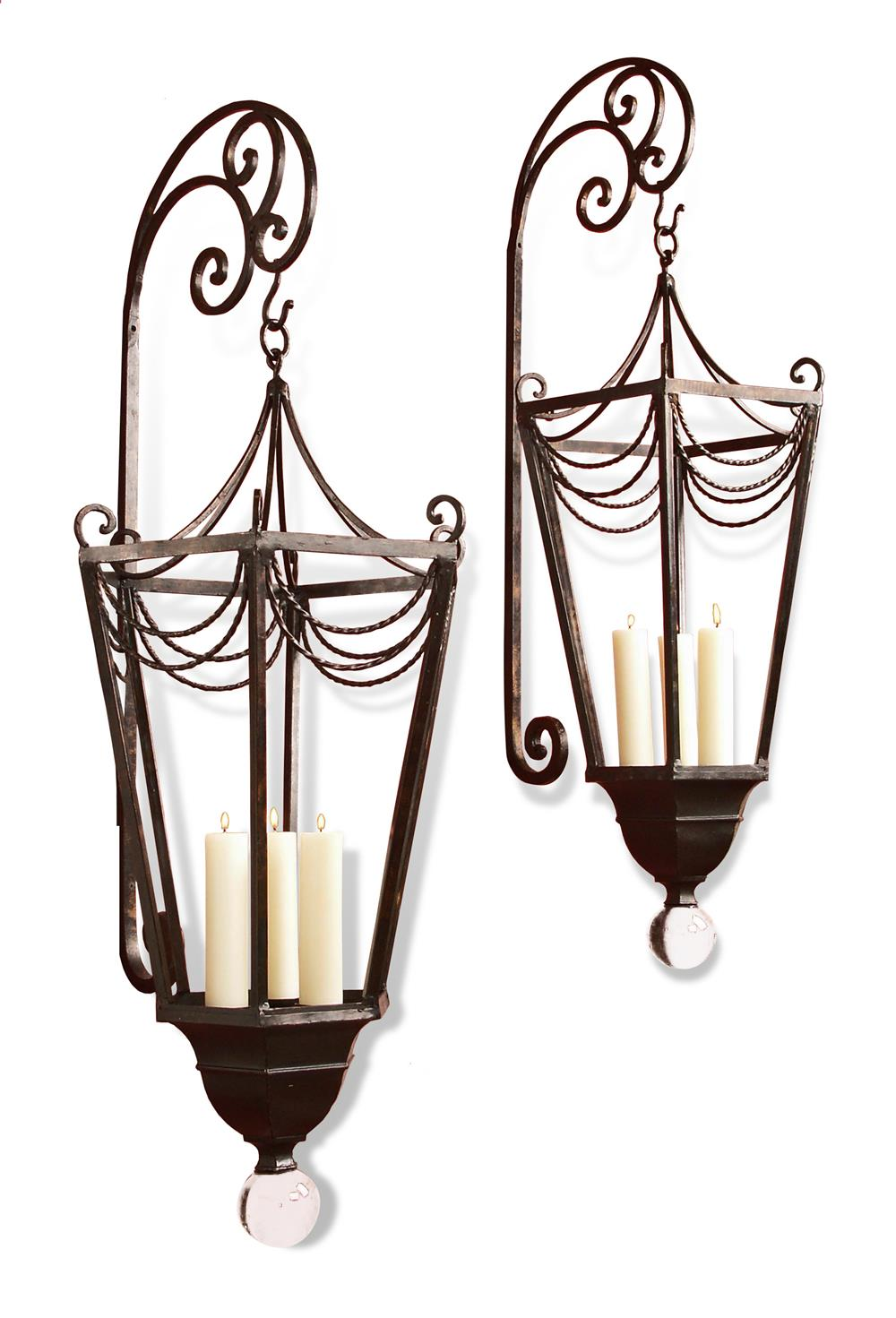 Wall Sconces Candles Lantern : Perpignon Large Metal Ornate French Wall Candle Sconce Lanterns Kathy Kuo Home