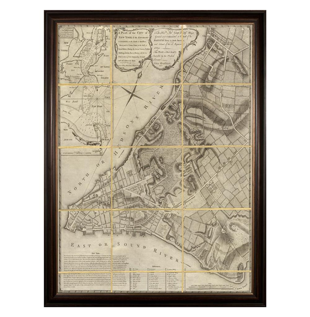 Antique Folded New York Map Large Wall Art Framed