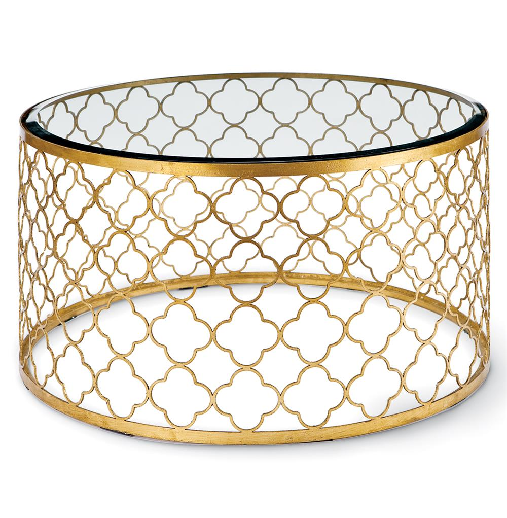 Gold Coffee Table Made: Gable Hollywood Regency Glass Gold Leaf Round Coffee Table