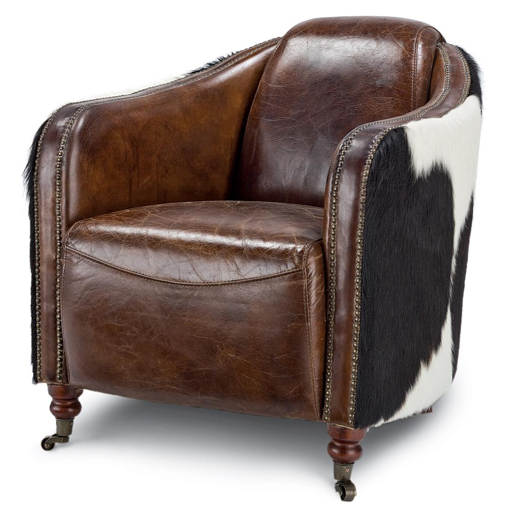 Fink Rustic Brown Leather Hair Hide Upholstered Arm Chair Kathy Kuo Home