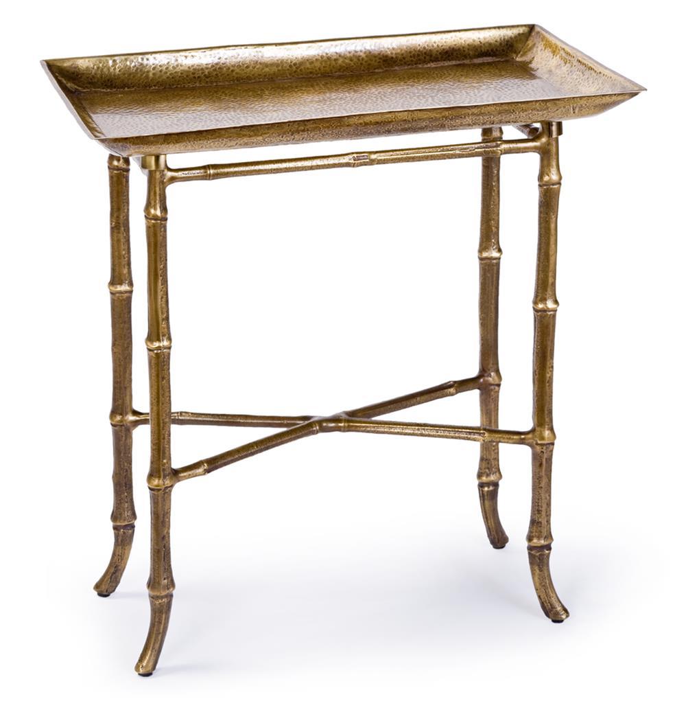 kashgar global bazaar antique brass bamboo tray end table. Black Bedroom Furniture Sets. Home Design Ideas