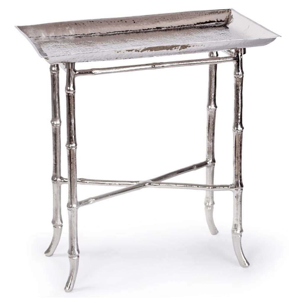 Kashgar global bazaar nickel bamboo tray end table kathy for Tray side table
