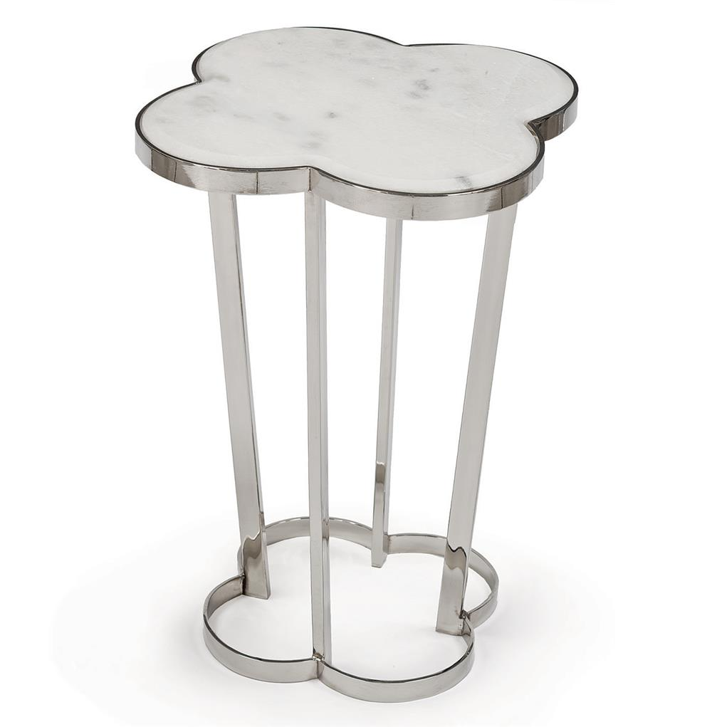 6087 Lansbury Hollywood Marble Top Silver Metal Clover End Table
