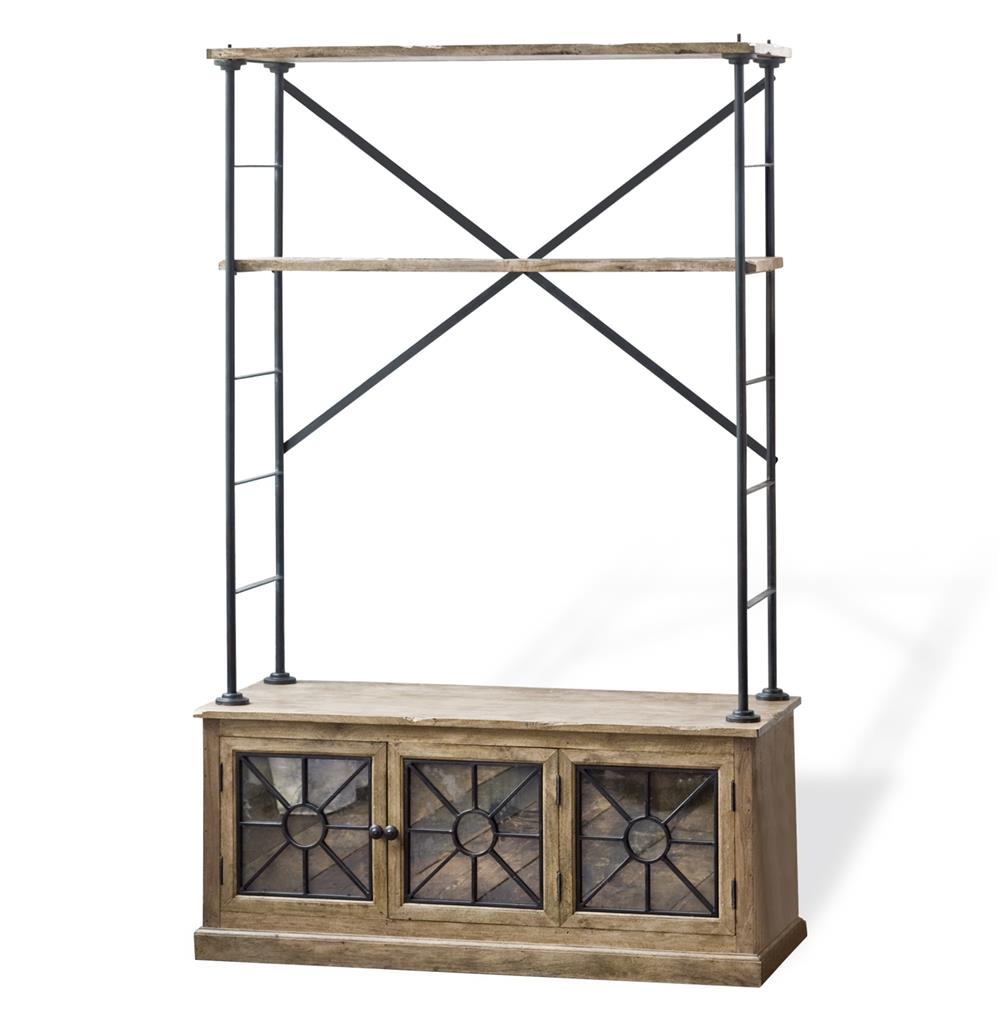 Brower rustic lodge wood metal glass rack cabinet kathy for Wood and metal cabinets