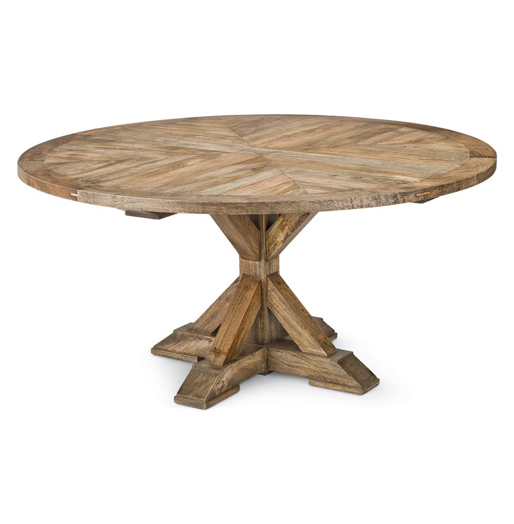 Ducasse french style mango wood parquet round dining table for Hardwood dining table