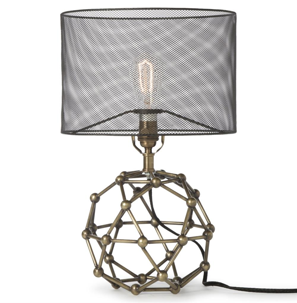 Wire mesh table lamp wire center hutten industrial loft black mesh brass molecular table lamp rh kathykuohome com industrial table lamps industrial keyboard keysfo Image collections