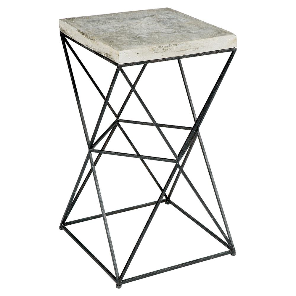 Metal End Tables ~ Ridge industrial loft black metal concrete end table