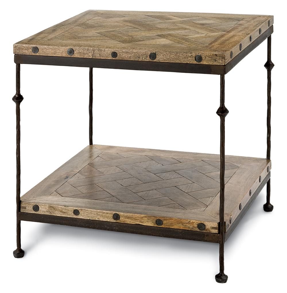 Exceptional Shays Rustic Mango Wood Parquet Metal Square End Table | Kathy Kuo Home