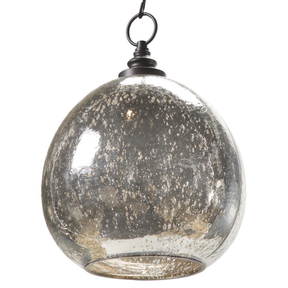 Voysey Industrial Loft Antique Mercury Glass Float Pendant | Kathy Kuo Home
