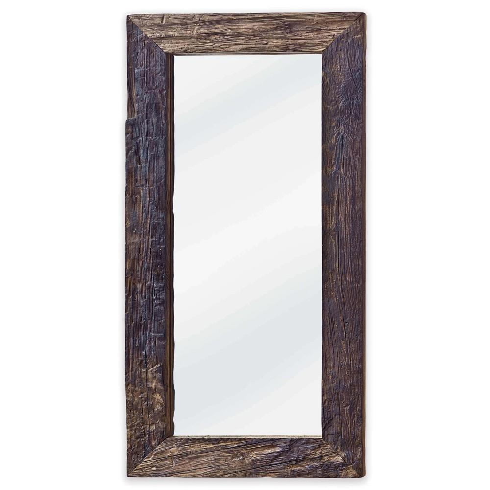 Mawson rustic lodge reclaimed driftwood rectangle mirror for Rustic mirror