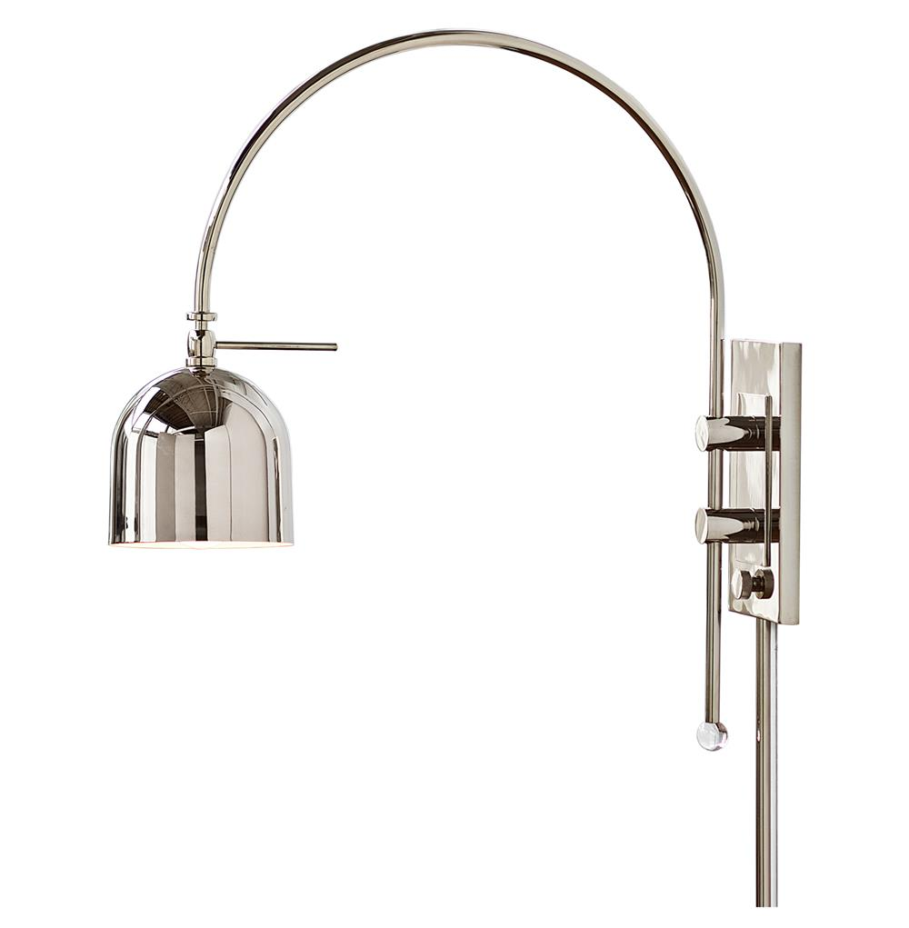 Contemporary Silver Wall Sconces : Tobias Modern Silver Metal Arc Wall Sconce Kathy Kuo Home