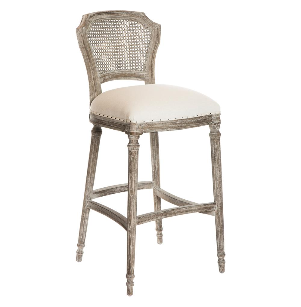 Camilla French Country Washed Taupe Linen Barstools - Set of 2 | Kathy Kuo  Home - Camilla French Country Washed Taupe Linen Barstools - Set Of 2