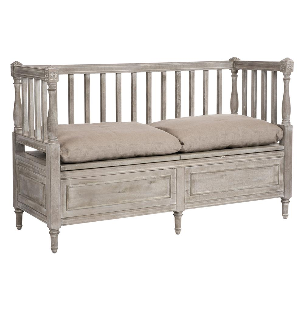 Damita French Country Weathered Grey Storage Bench Sofa