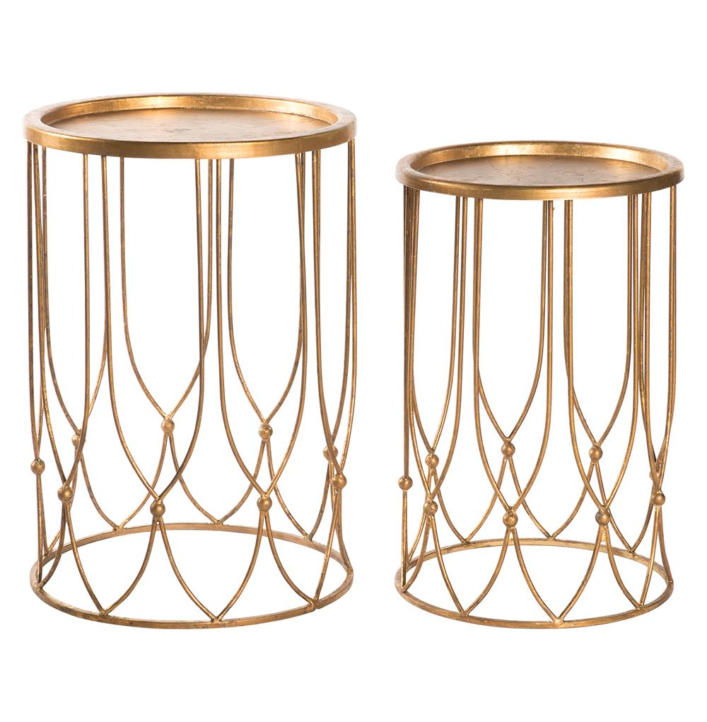 wishbone hollywood regency gold accent round side table