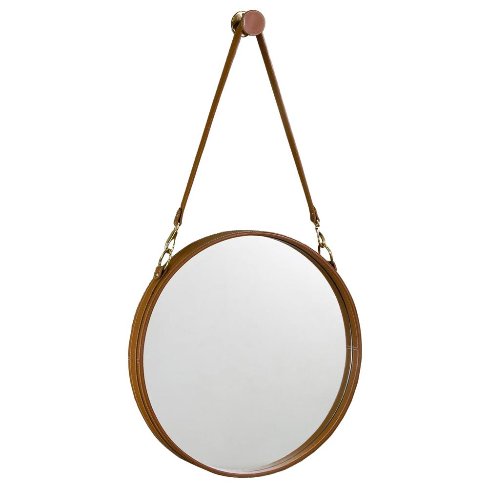Havana contemporary leather hanging round mirror kathy for Round mirror