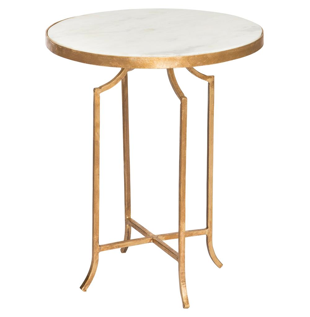 Fiji hollywood regency gold leaf white marble end table for White end table
