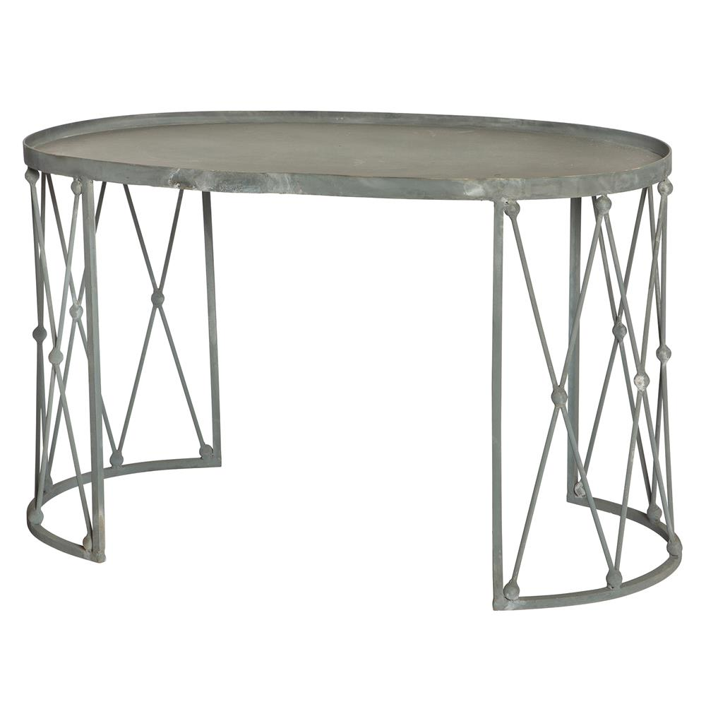 French Provincial Oval Coffee Table: Palm House French Country Weathered Zinc Oval Coffee Table