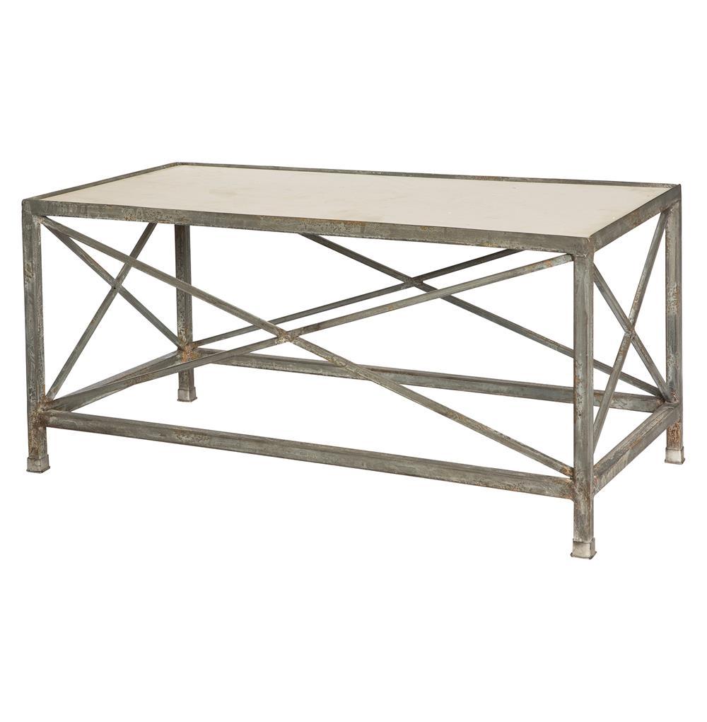 Vedel Industrial Loft Zinc Wood Rectangle Coffee Table: Cornwall Weathered Zinc Industrial Coffee Table