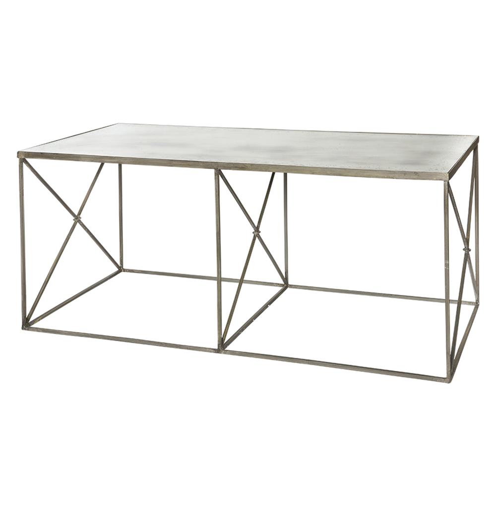 Antique Gray Coffee Tables: Furano Weathered Zinc Grey Antique Mirror Coffee Table