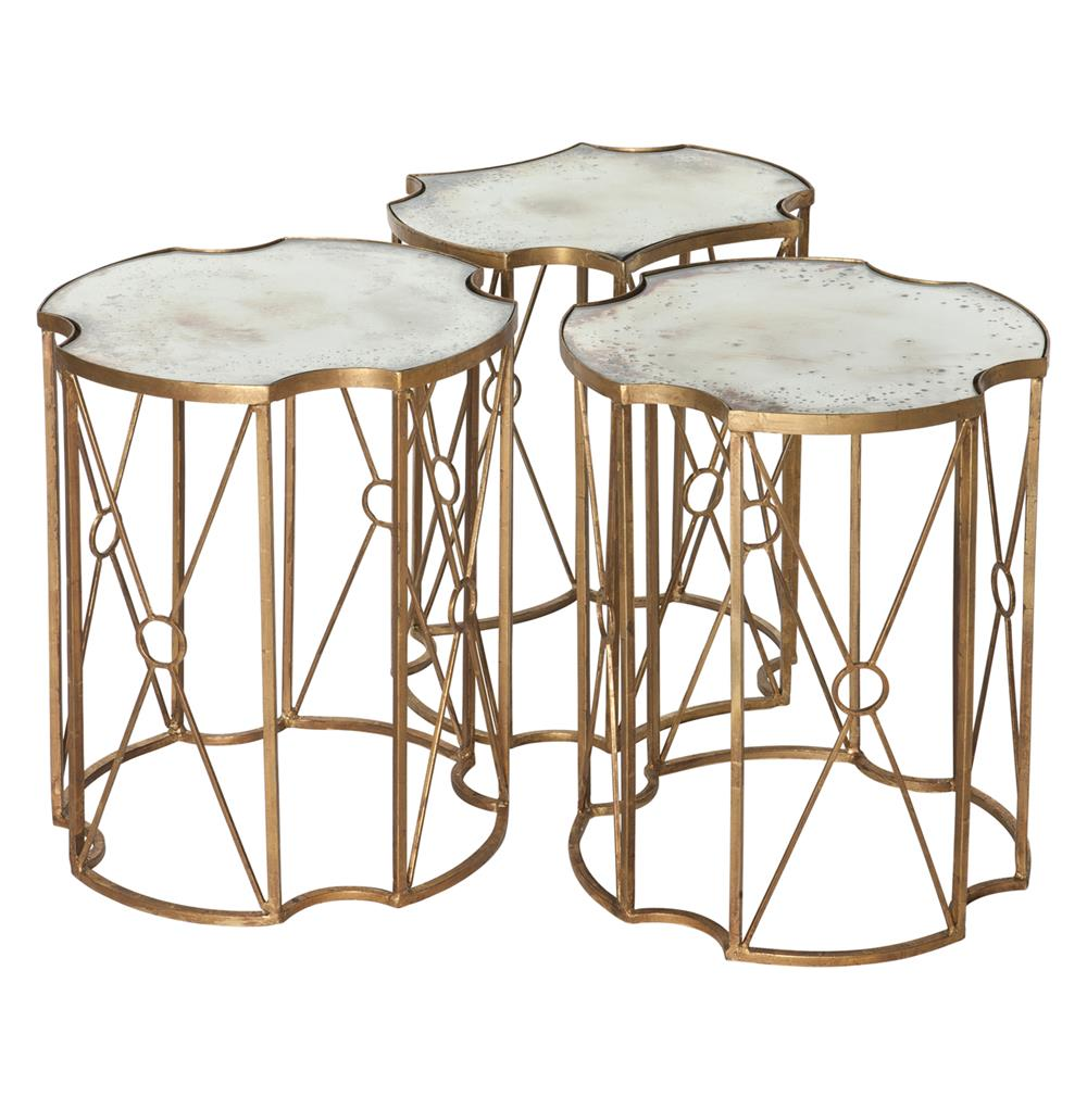Marlene hollywood antique mirror bunching side tables for Side coffee table set