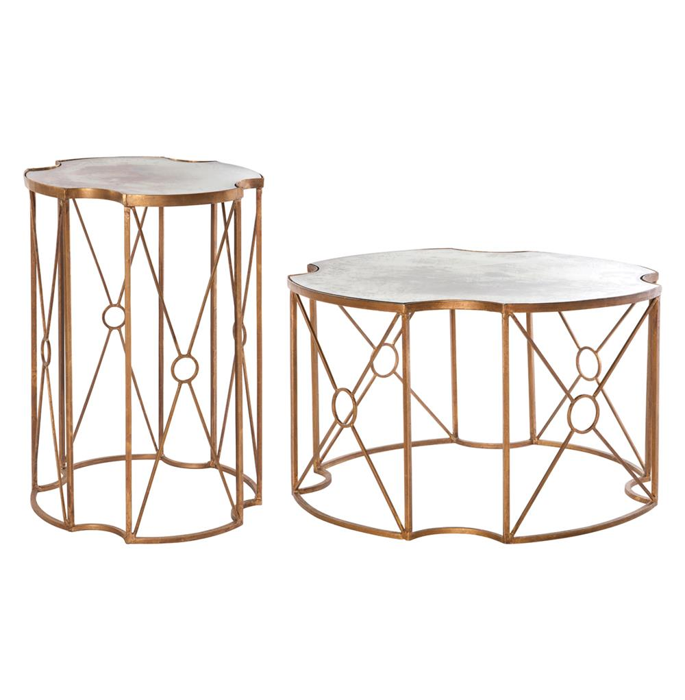 marianna hollywood gold antique mirror coffee end table