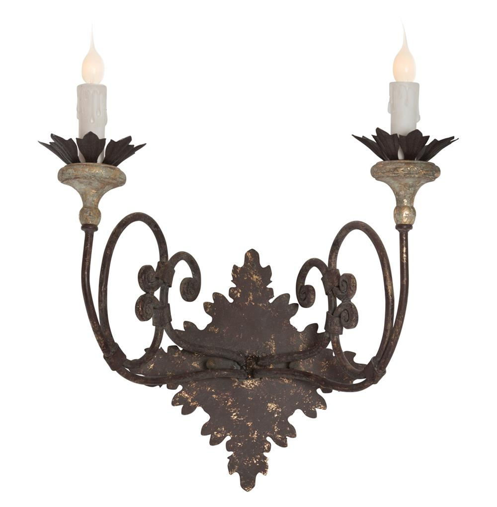 French Iron Wall Sconces : Nimes French Country Curled Iron 2 Light Wall Sconce Kathy Kuo Home