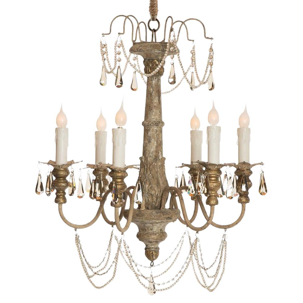 Forli french country crystal grey wash 6 light chandelier French country chandelier