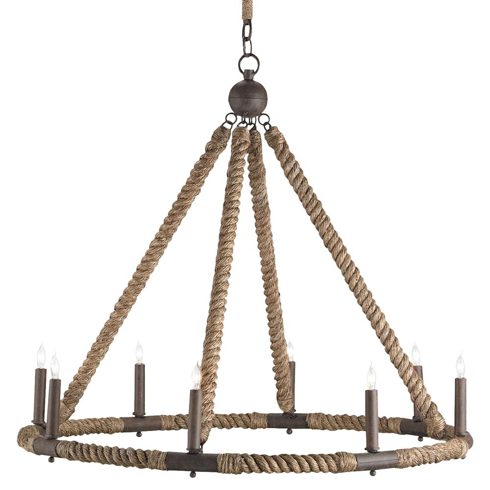 Seafarer nautical beach style wrapped rope 8 light chandelier kathy kuo home - Chandeliers for home ...