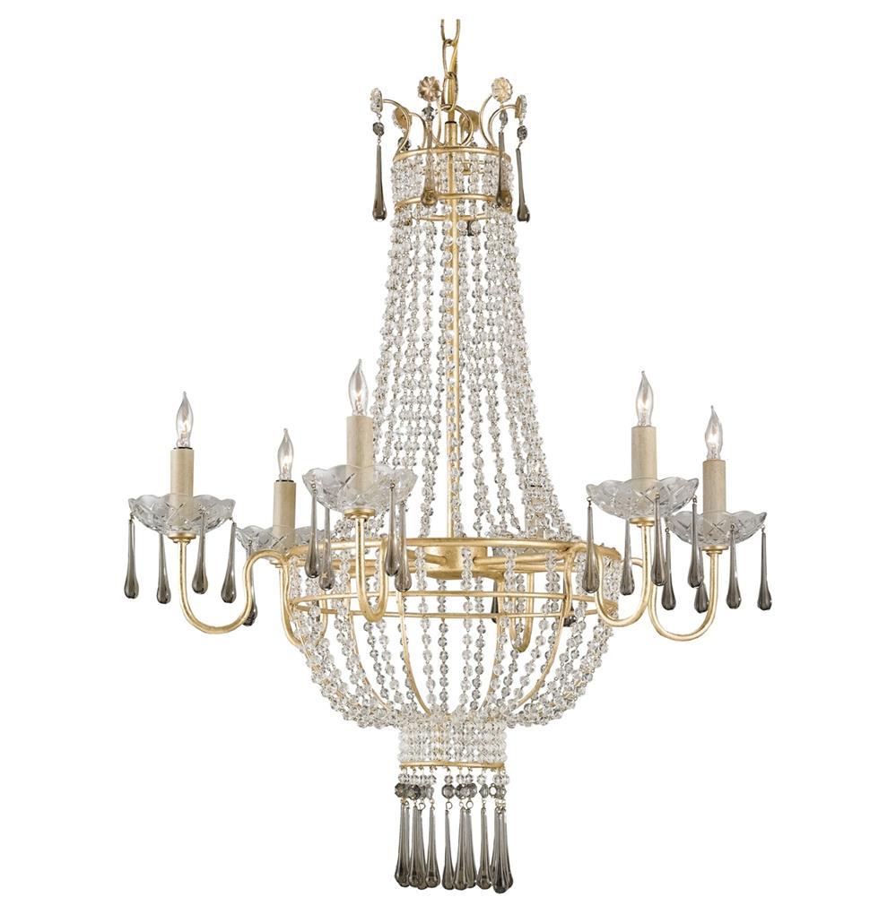 Raines Hollywood Regency Gold Crystal Romantic 6 Light