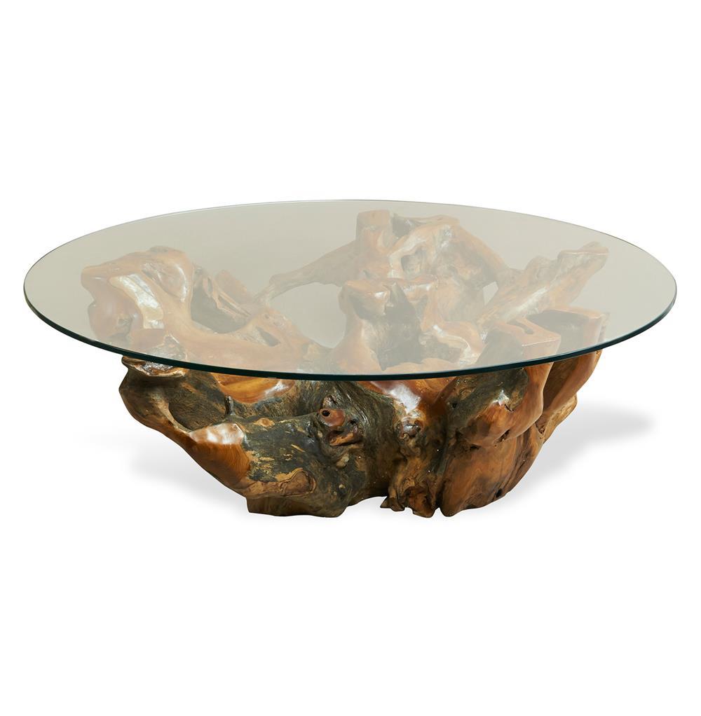 Hedin Rustic Lodge Glass Teak Root Round Coffee Table ...