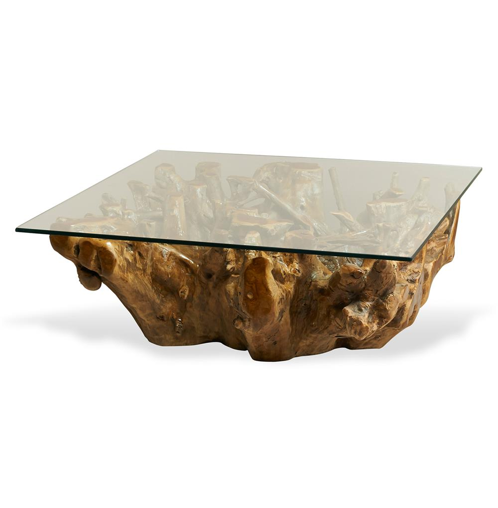 Hedin Rustic Lodge Glass Teak Root Square Coffee Table Kathy Kuo Home