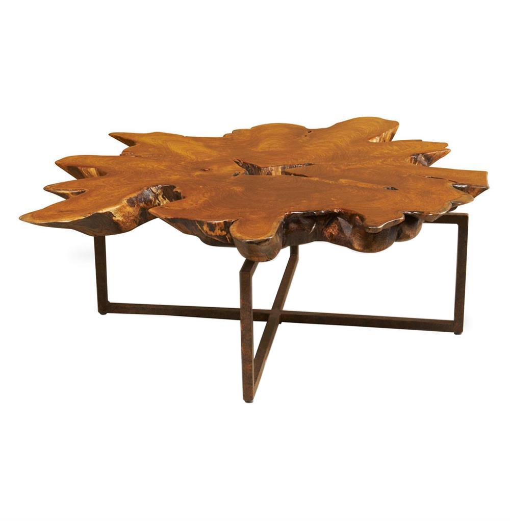 Harrer rustic lodge teak root iron abstract coffee table kathy kuo home Rustic iron coffee table