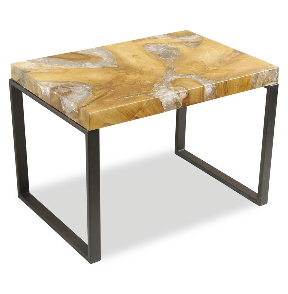 Molenaar rustic lodge teak root resin rectangle side table for Rustic side table