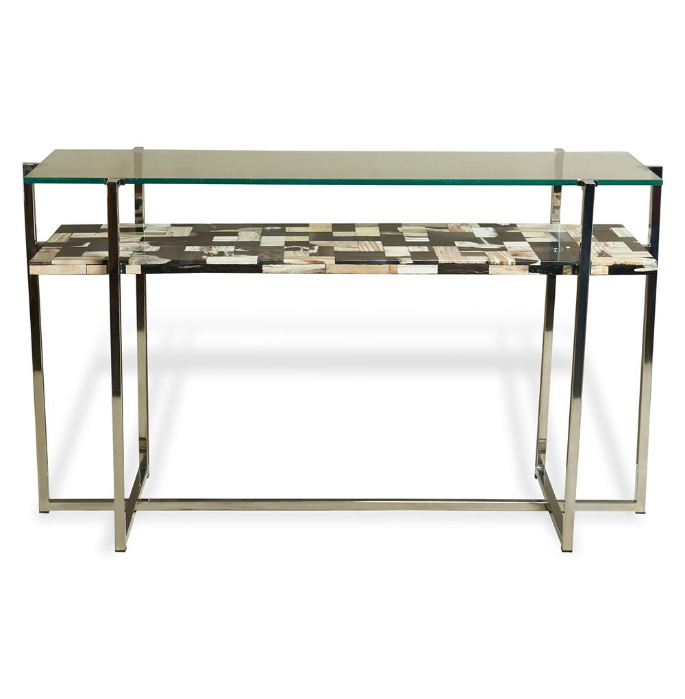 Bellaver Hollywood Regency Wood Mosaic Glass Console Table