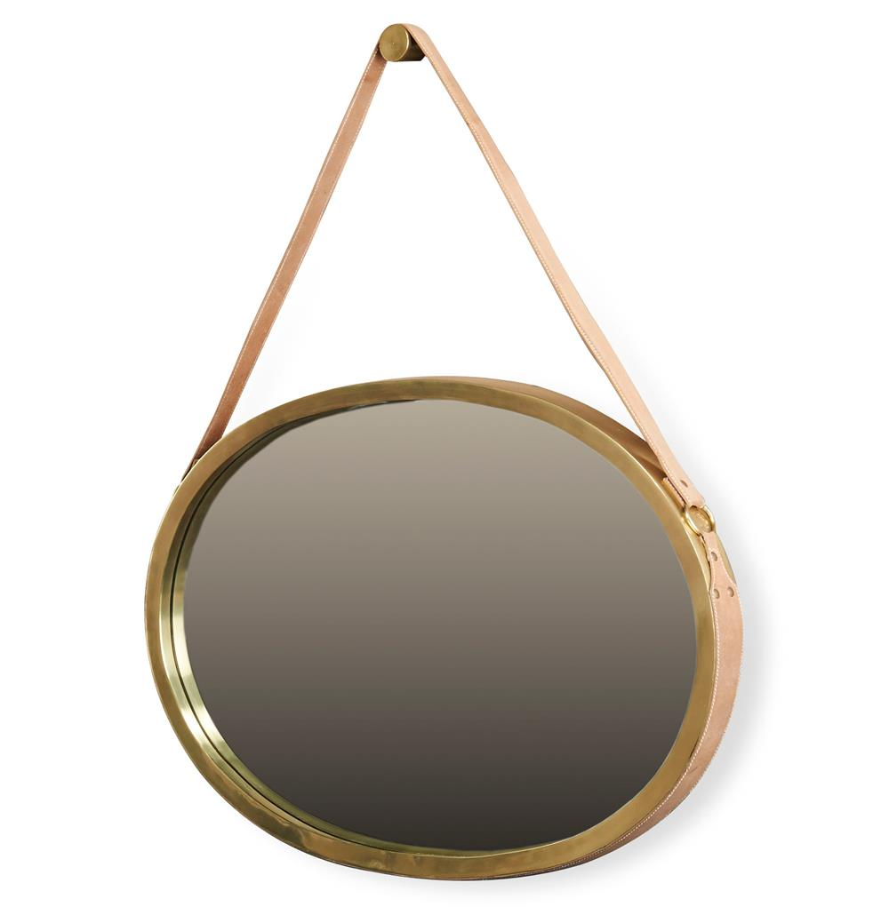 Carradine hollywood regency antique brass oval hanging for Mirror hangers