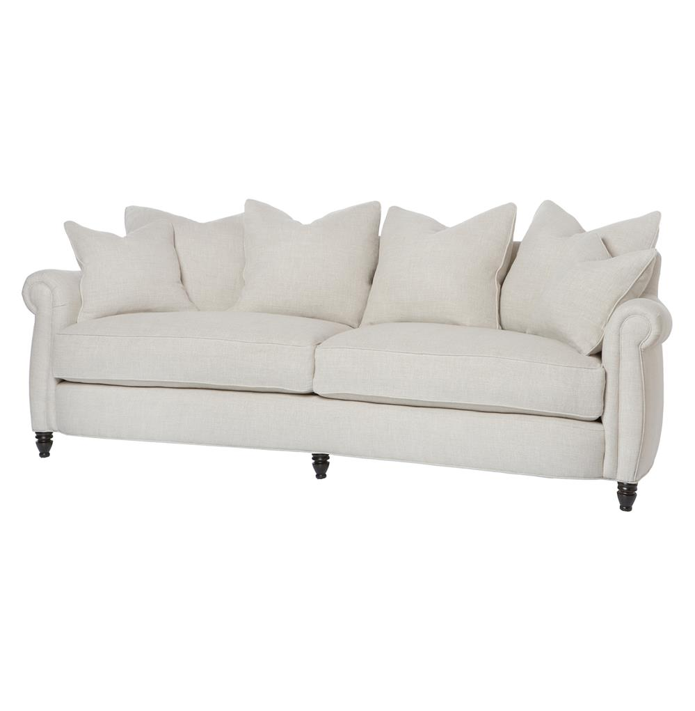 Cortona classic rolled arm feather down oatmeal sofa 90 for 90 inch couch