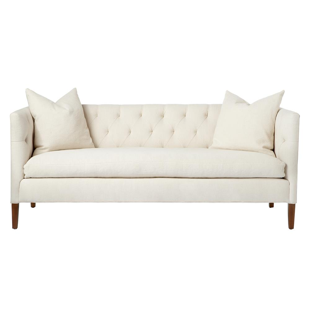 Nell mid century ivory tufted feather down straight sofa for Sofa 84 inch