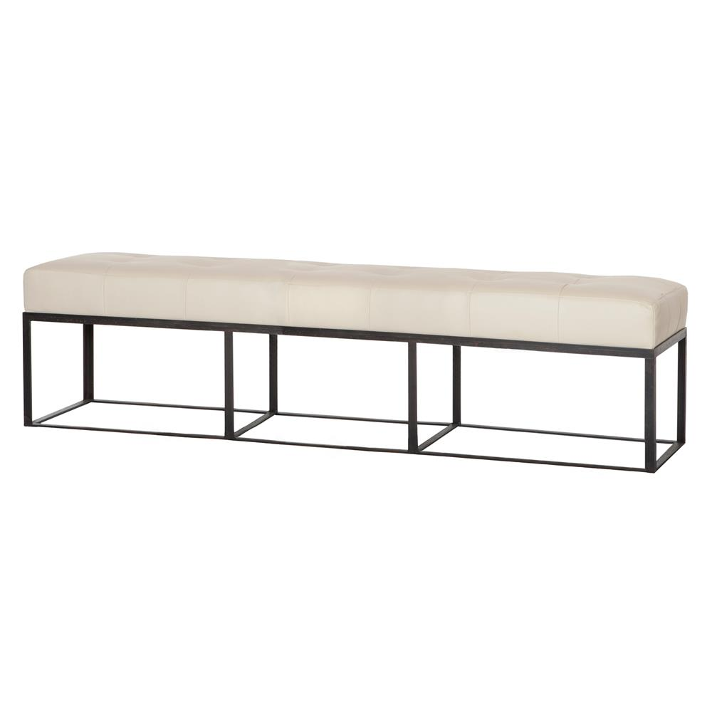 Cisco Brothers Cruz Modern Classic Ivory Leather 72 Inch Bench Kathy Kuo Home