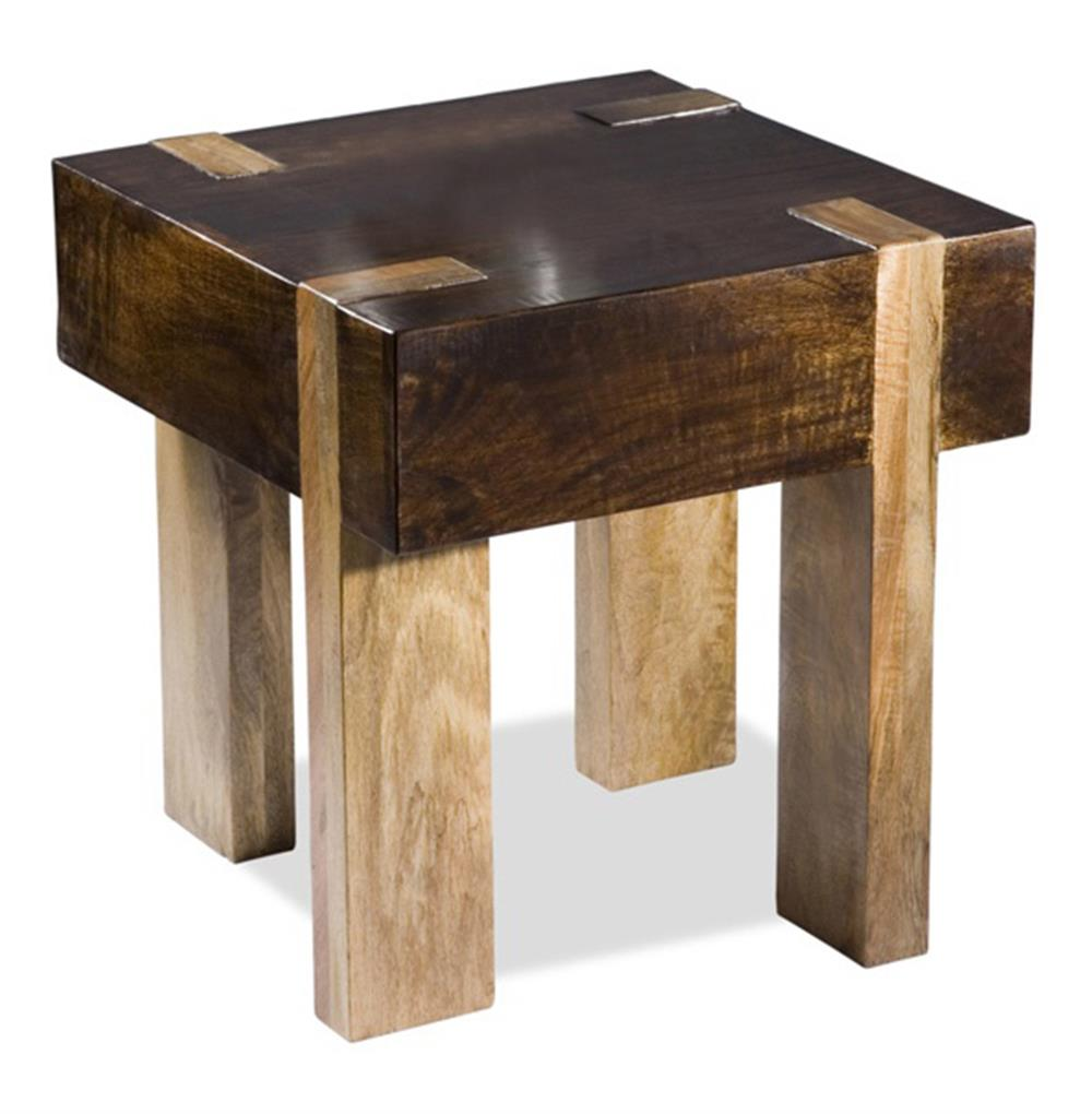 Berkeley solid chunky wood contemporary end side table for Wooden table designs images